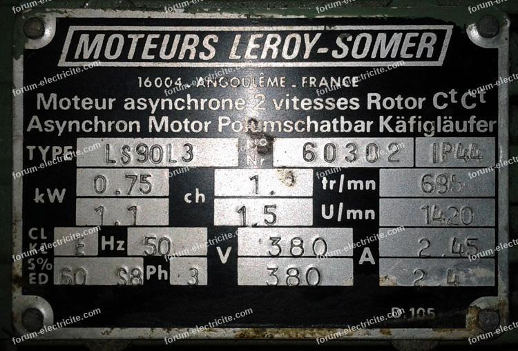 plaque signalétique moteur Leroy Somer