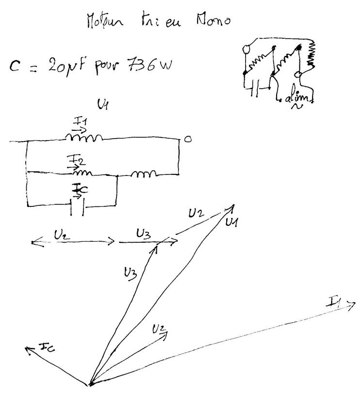 schéma  moteur tri en mono