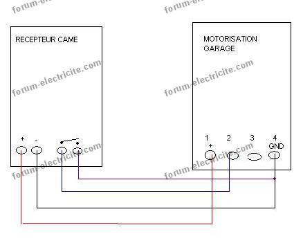 schéma branchement motorisation de porte de garage