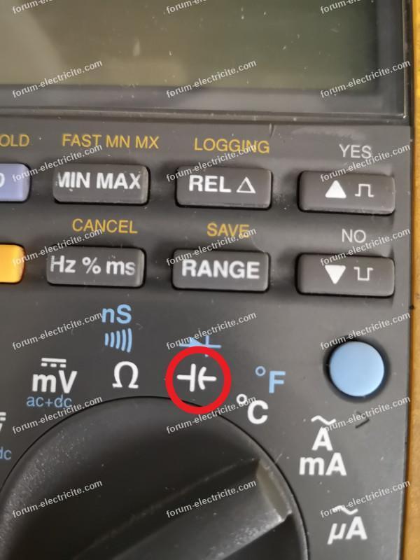 multimètre position capacimètre