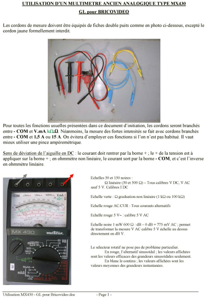 multimetre utilisation bv0612