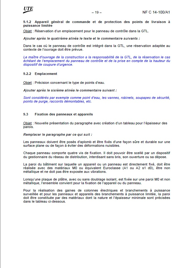 Extraits norme NF C 14-100