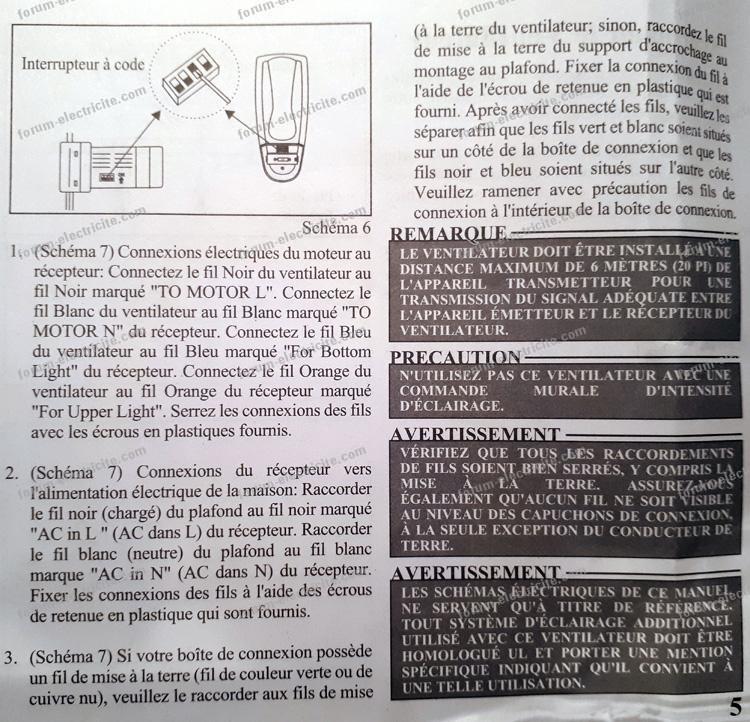 Conseils forum lectricit branchement lectrique - Branchement ventilateur de plafond avec lumiere ...