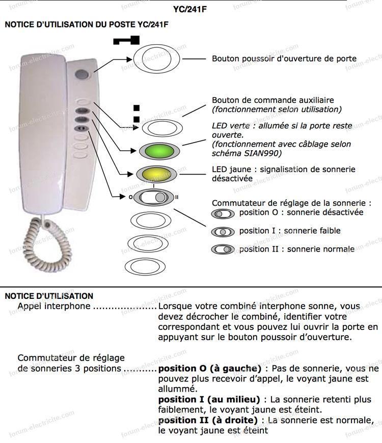 notice interphone YC/241f