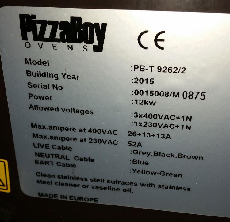 plaque signalétique four à pizza 12kW 380V