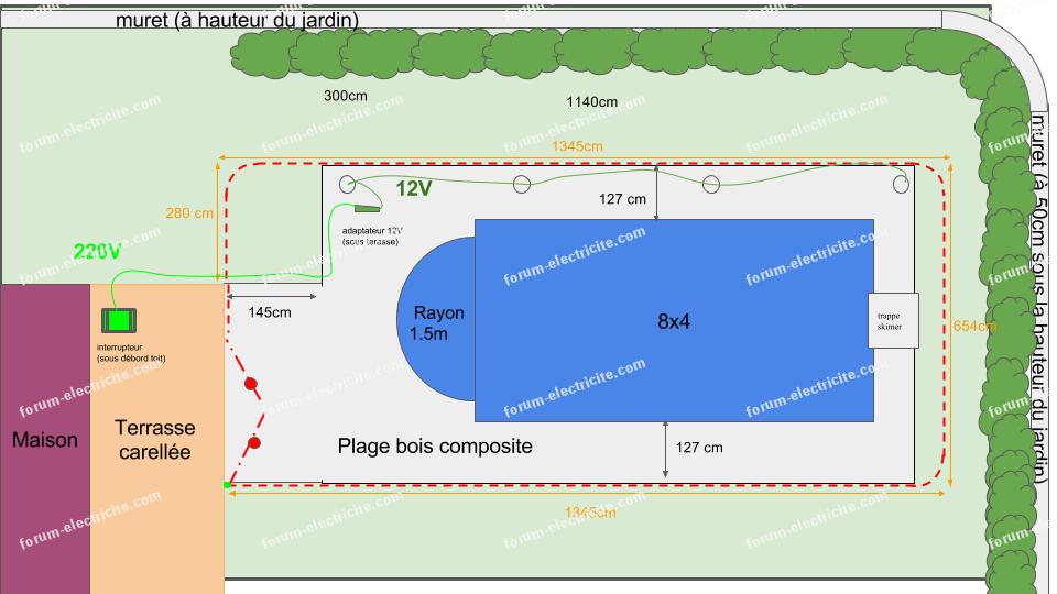 plan éclairages piscine 12v