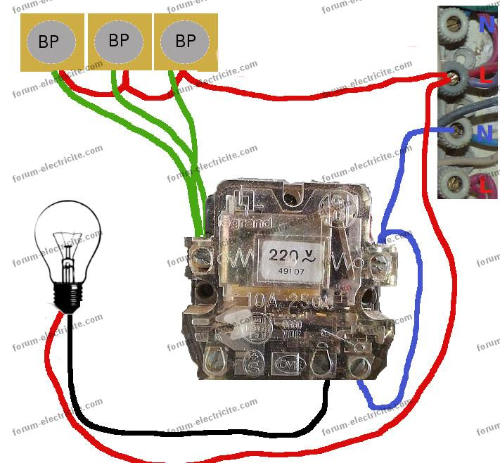 plan remplacement télérupteur Legrand 491-07