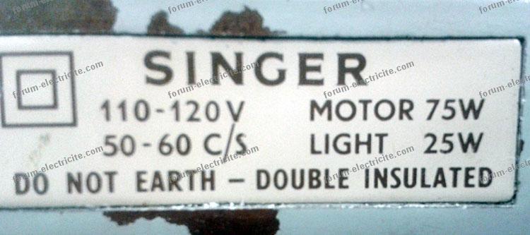plaque signalétique machine à coudre Singer