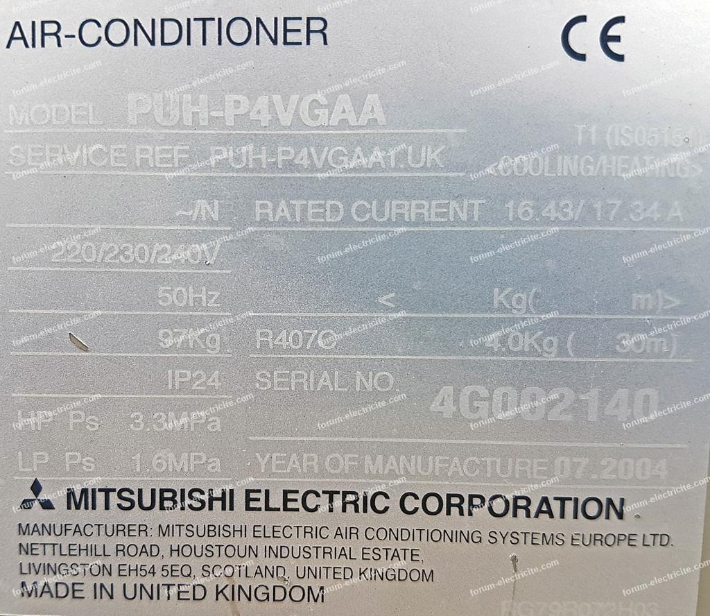 plaque signalétique PAC Mitsubishi