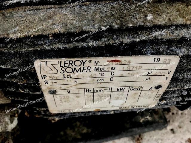 plaque signalétique moteur Leroy Somer LS71p