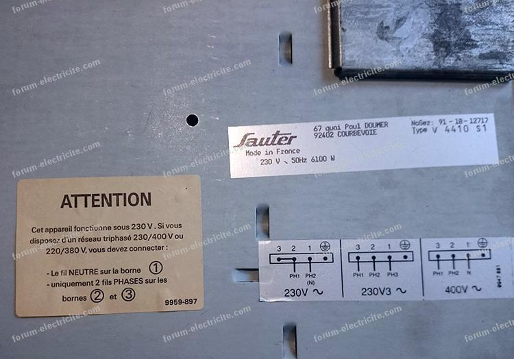 problème branchement plaque induction Sauter