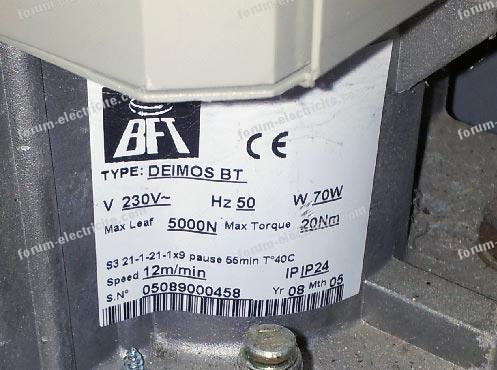 Problème portail coulissant BFT Deimos