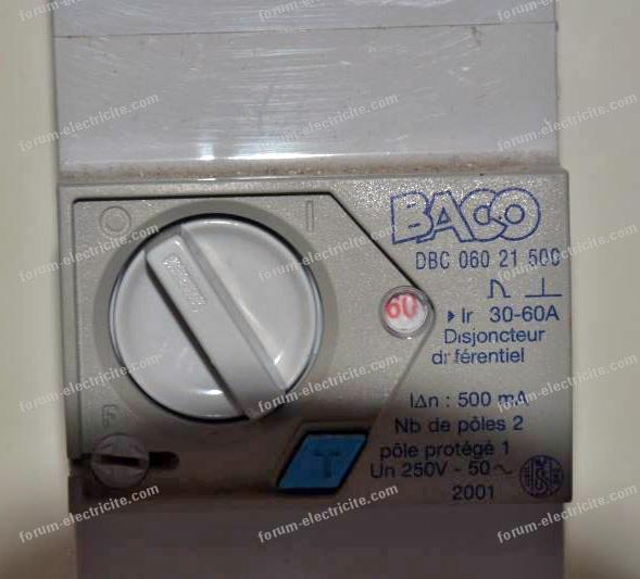 Problème résolu puissance disjoncteur Baco 60A