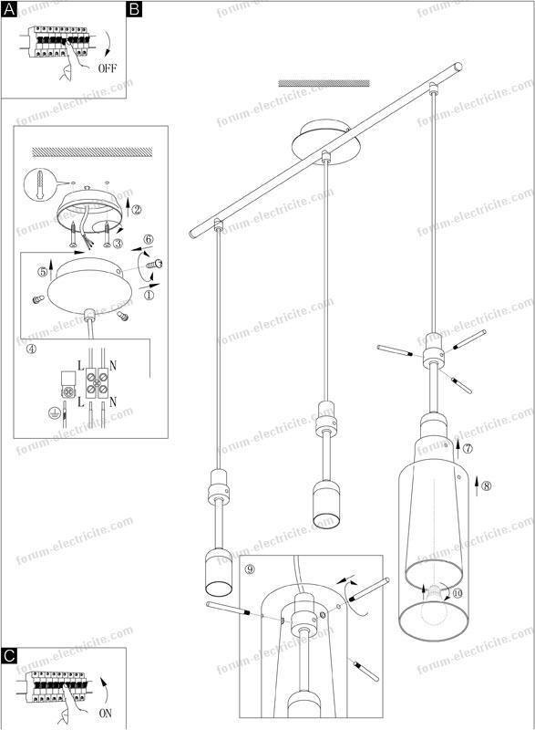 Question probl me lectrique comment r duire longueur suspensions d 39 un - Comment accrocher un plafonnier ...
