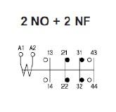 relais 2 NO + 2 NF