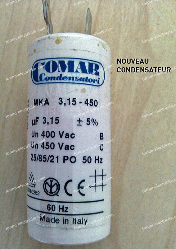 remplacement condensateur VMC