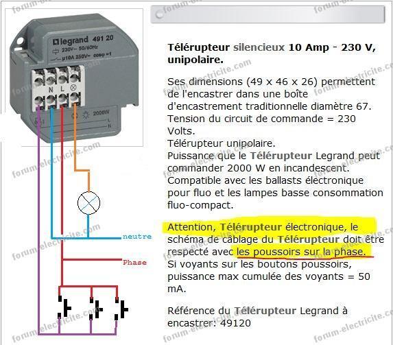 remplacement télérupteur Legrand 491-07