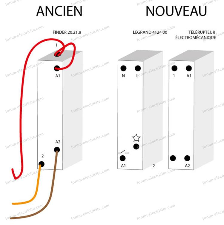 remplacer télérupteur Finder par Legrand