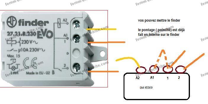 schéma remplacement télérupteur GM 45500 par télérupteur finder