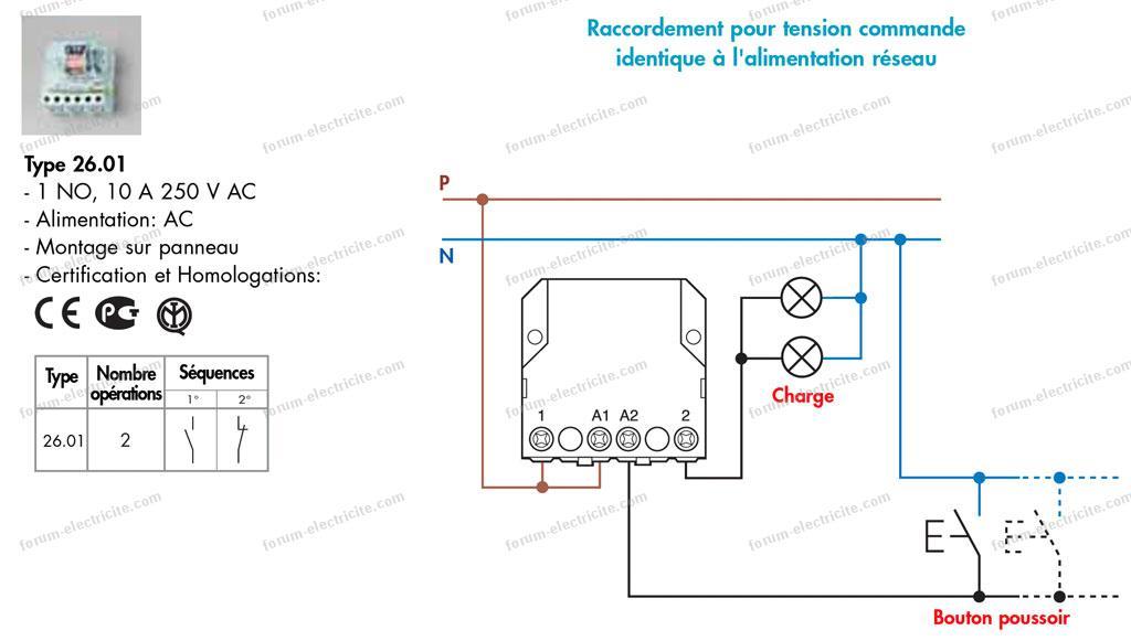 remplacer télérupteur Legrand 49107 par Finder 26.01