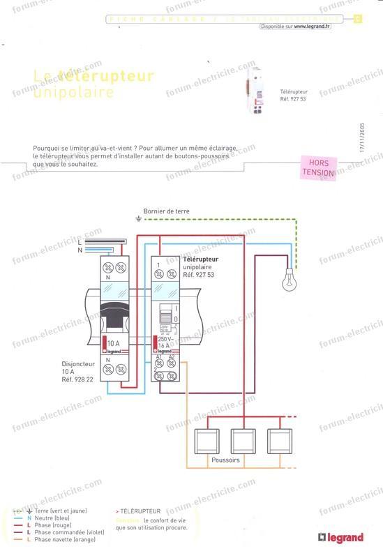 schéma télérupteur Legrand