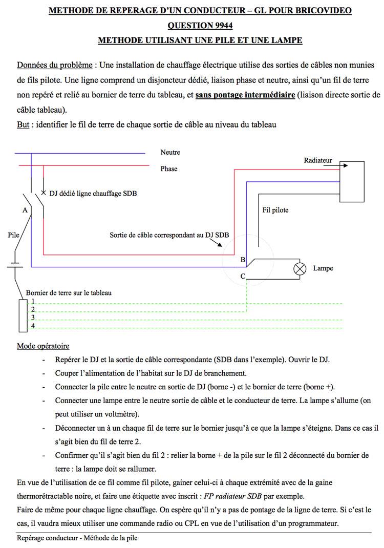 branchement lectrique fil de terre utiliser comme fil pilote. Black Bedroom Furniture Sets. Home Design Ideas
