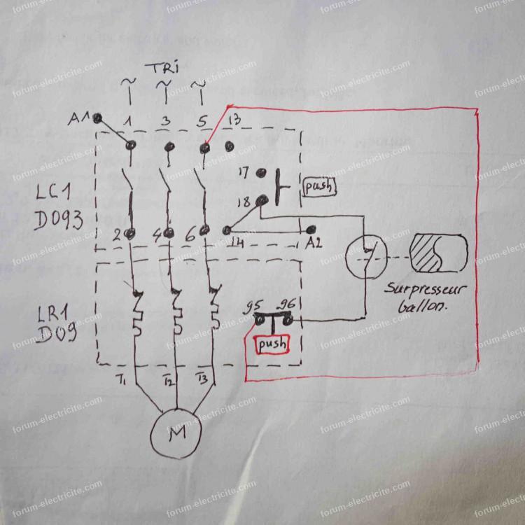 schéma branchement contacteur Télémécanique