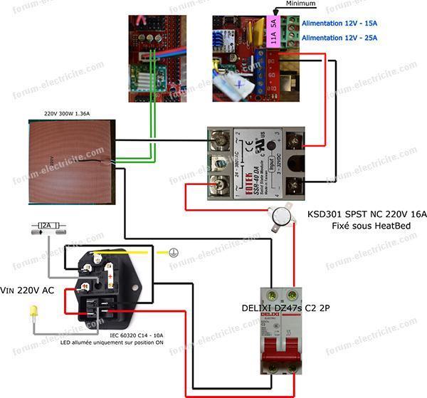 schéma alimentation imprimante 3d
