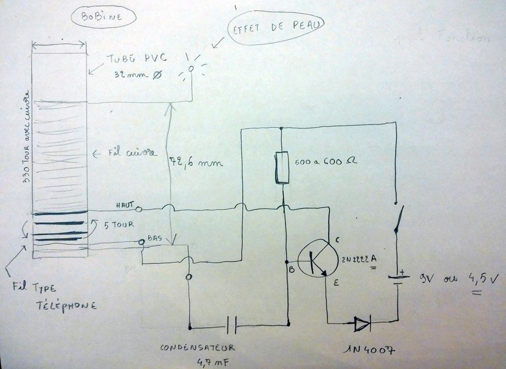schéma réalisé avec un transistor 2N2222A