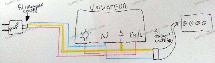 schéma branchement brasseur d'air variateur