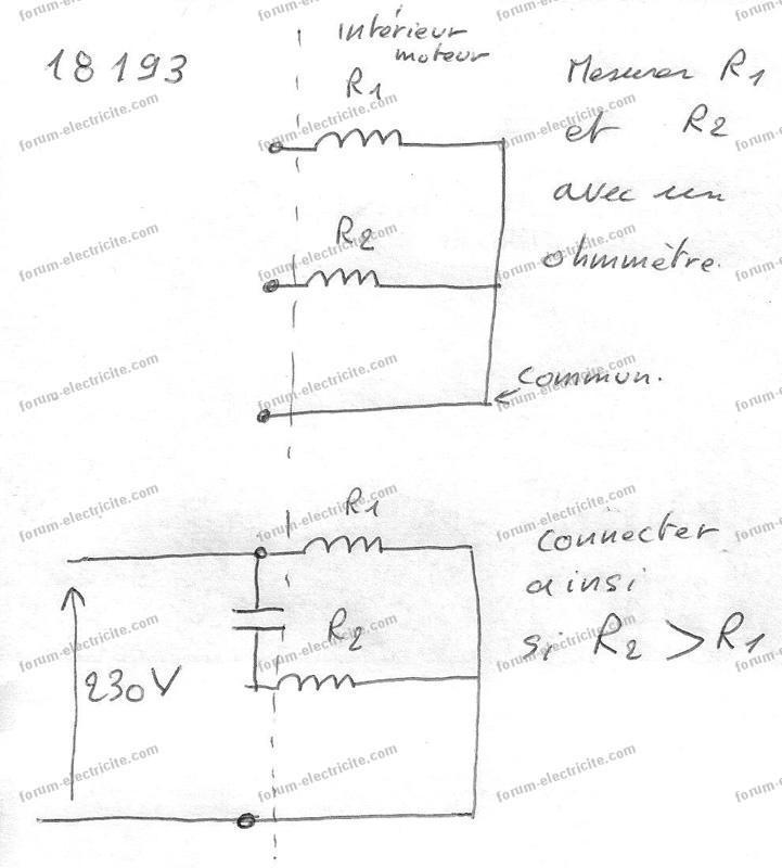 schéma branchement condensateur compresseur