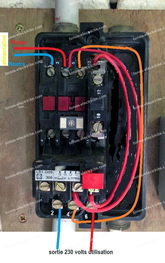 schéma branchement contacteur LR1-D09