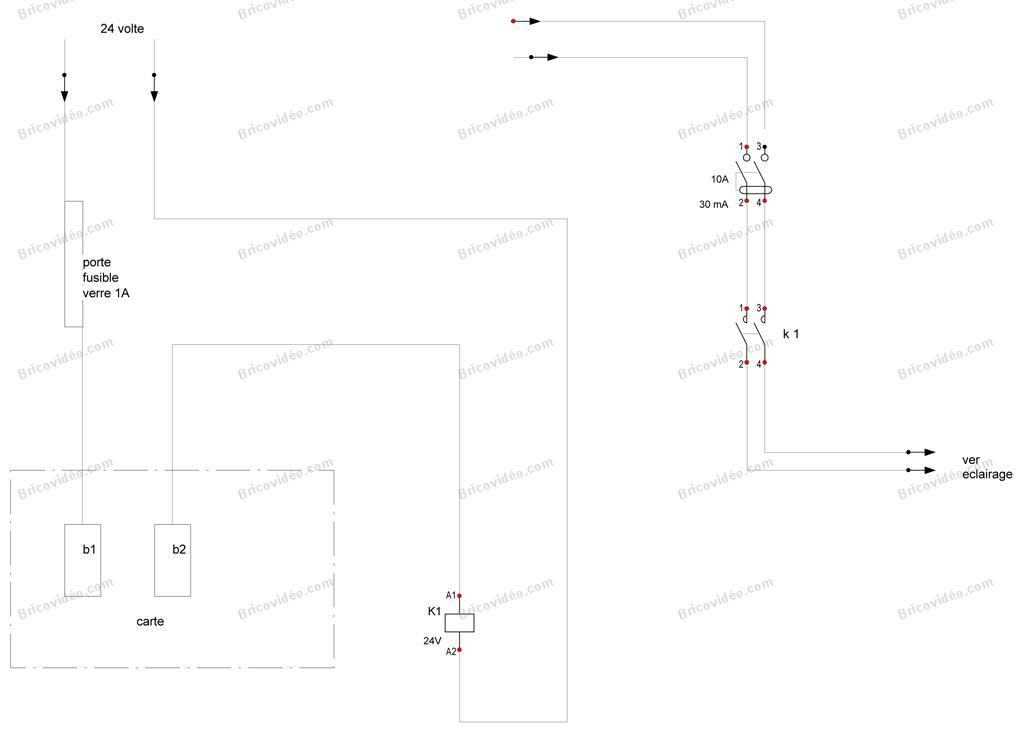 branchement éclairage portail schéma