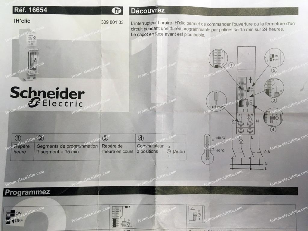 schéma branchement horloge Schneider analogique
