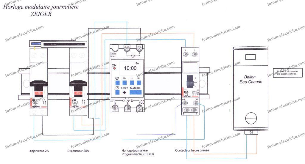 Branchement telerupteur debflex excellent tableau lectrique en triphas lectricit pinterest - Horloge tableau electrique ...