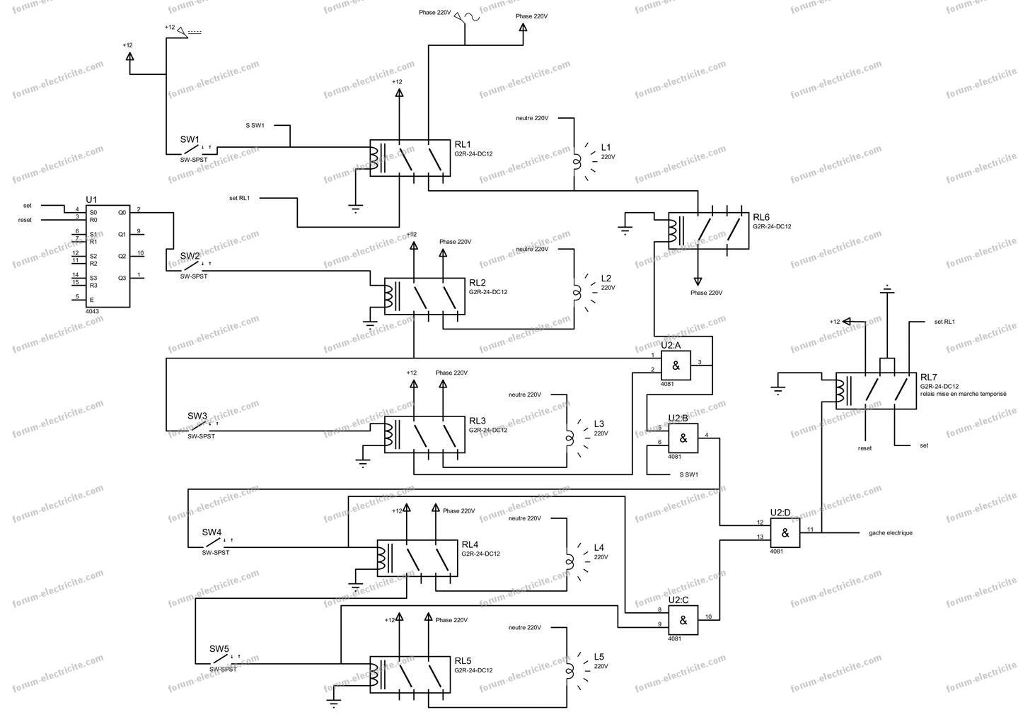 schéma branchement interrupteurs complexe