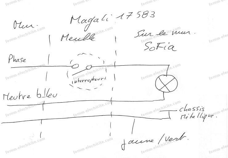 schéma branchement lampe sur meuble SDB