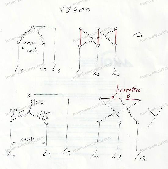 schéma branchement moteur électrique Leroy Somer LS112M2B