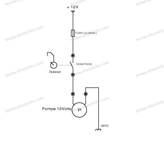schéma branchement pompe eau 12 Volts caravane