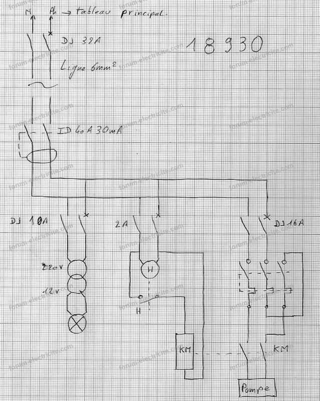 schéma branchement pompe de piscine avec contacteur