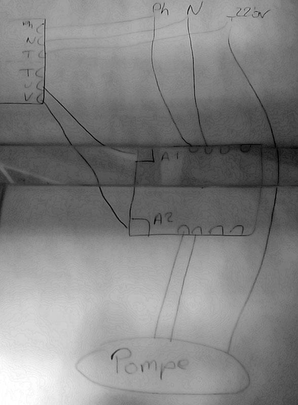 schéma branchement pompe immergée