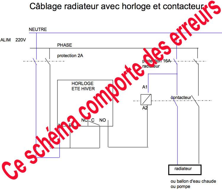schema branchement radiateur contacteur