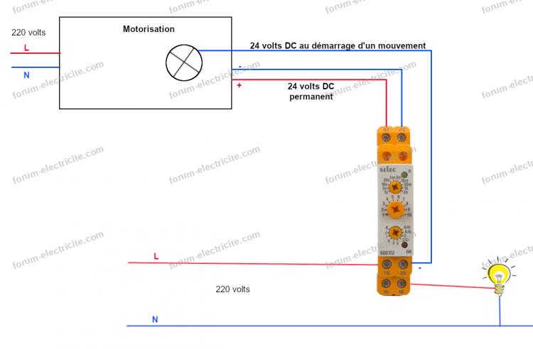 schéma branchement relais temporisé
