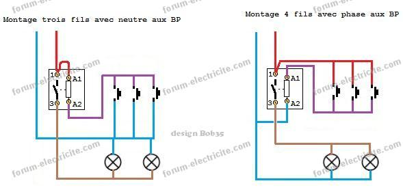schémas branchement télérupteur 3 et 4fils