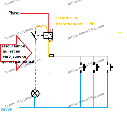 Schéma branchement télérupteur Legrand 49107