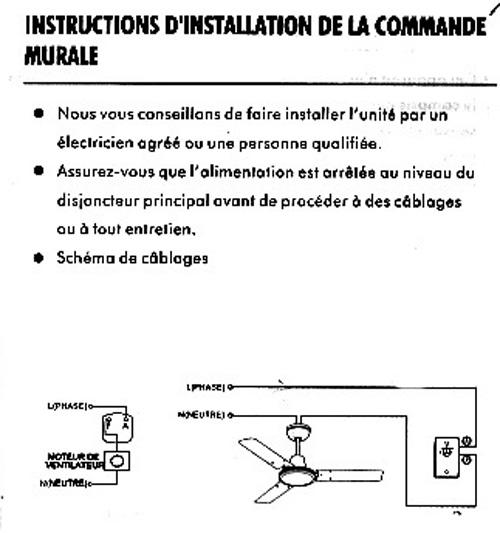 Branchement lectrique probl me installation commutateur - Branchement ventilateur de plafond avec lumiere ...