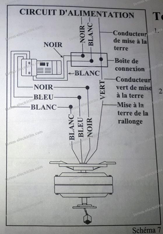 schéma branchement ventilateur plafonnieravec lumiere