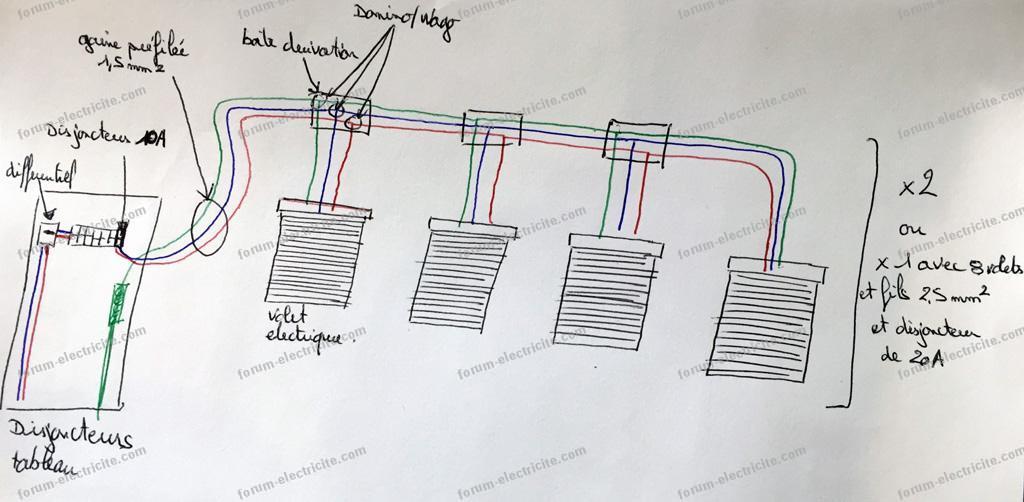 schéma branchement volets électriques