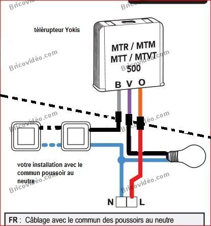Schéma branchement télérupteur Yokis MTR500E