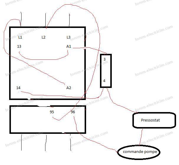 schéma câblage contacteur pompe immergée